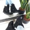Sneakersy Czarne Na Trzy Rzepy 8728