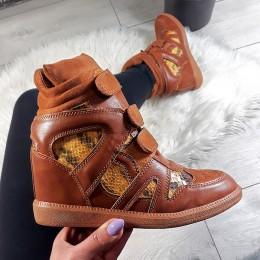 Sneakersy Brązowe z Wężem Na Trzy Rzepy 8747