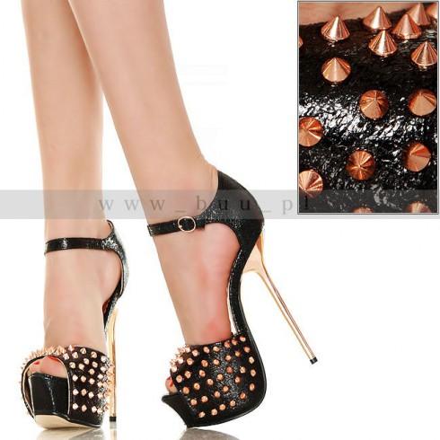 NIE - 3 Kolory - Glamour - CZARNE - Sandały Kolce