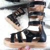 Sandały Czarne Rzymianki Na Platformie 8743