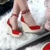 Sandały Czerwony Zamsz Espadryle Na Koturnie 8754