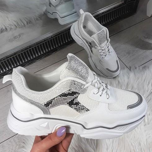Trampki Eko+Siatka Białe Adidasy 8745
