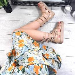 Sandały Beżowe Rzymianki Na Platformie 8760