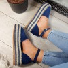 Sandały Granatowe Zamszowe Espadryle 8779
