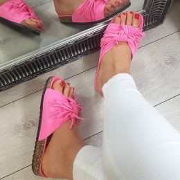 Klapki Różowe Neonowe Miękkie w Frędzle 8796