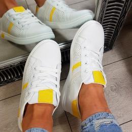 Trampki Proste Ażurowe Biało Żółte 8803