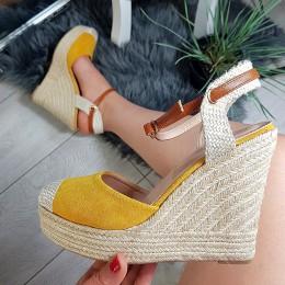 Sandały Żółte Zamsz Espadryle Na Koturnie 8776