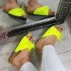 Klapki Żółte Neonowe Miękkie w Frędzle 8770