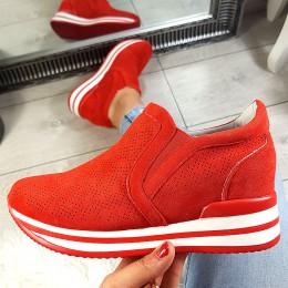 Trampki Wciągane Ażurowe Czerwone Adidasy 8787