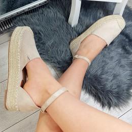 Sandały Beżowe Espadryle Na Platformie 8789