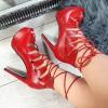 Botki Czerwone Sznurowane Open Toe - Szpilka 8797