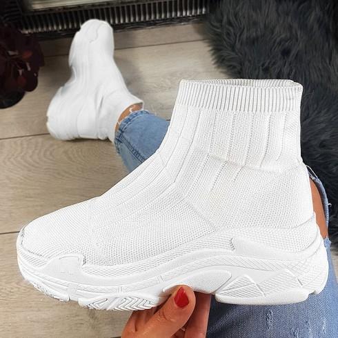 Botki Białe Wciągane Skarpetkowe Adidasy 8761
