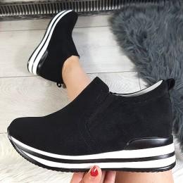 Trampki Wciągane Gładkie Czarne Adidasy 8773