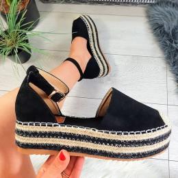Sandały Czarne Zamszowe Espadryle 8800