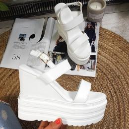 Sandały Białe Eko-Skóra Na Koturnie 8840