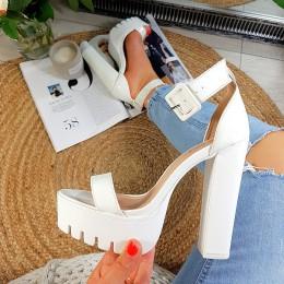 Sandały Sexy Wysokie Biały Lakier 8834