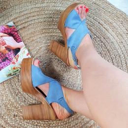 Niebieskie Zamszowe Sandały Mega Lekkie Na Słupku 8858