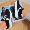 Trampki Czarny Zamsz Sneakersy na Koturnie 8875