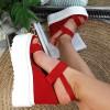 Sandały Czerowne Zamszowe Na Koturnie 8854