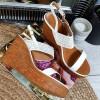Sandały Białe Ażurowe Na Koturnie 8856
