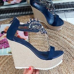 Sandały Niebieskie Oszałamiające Lśniące Cyrkonie 8862