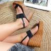 Sandały Czarne Ażurowe Na Koturnie 8883