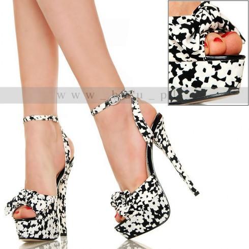 NIE - Wesołe Czarno Białe Plamki - Sexy Sandały