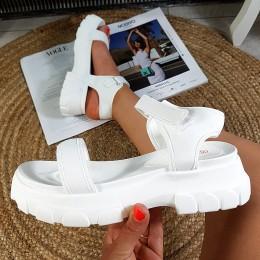 Sandały Białe Streczowe Sportowe Na Rzepy 8881