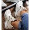 Sandały Beżowe Na Koturnie w Złote Wstawki 8890