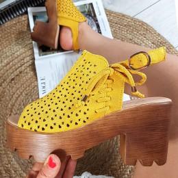 Sandały Miodowe Dziurkowane Lekkie 8892