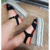 Sandały Czarny Zamsz Etno na Platformie 8886