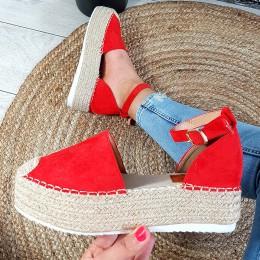 Sandały Czerwone Zamszowe Espadryle 8912