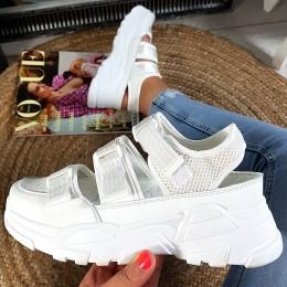 Sandały Sportowe Białe Na 3 Rzepy 8914