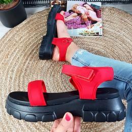 Sandały Czerwone Streczowe Sportowe Na Rzepy 8908