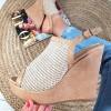 Sandały Beżowa Eko-skóra i Plecionka - Koturna 8911