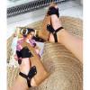 Sandały Czarny Zamsz Na Koturnie - Srebrne Dżety 8896
