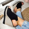 Sandały Czarny Zamsz Na Złotej Koturnie 8907