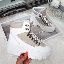 Botki Białe Zabudowane Adidasy Szare Wstawki 8936