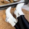 Kozaki Białe Kowbojki w Wężowe Wstawki 8938