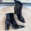 Botki Czarne Subtelne Lakierowany Aligatora 8950