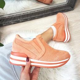 Trampki Wciągane Ażurowe Pomarańczowe Adidasy 8994