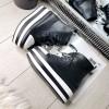 Trampki Czarne Botki z Białym Noskiem 7927
