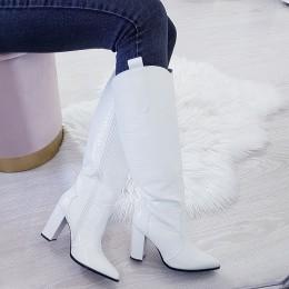 Kozaki Białe Eleganckie w Skóre Aligatora 9023