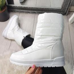 Botki Białe Lakirowane Proste Śniegowce 9028