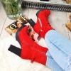 Botki Kobiece Czerwone w Cyrkonie 9038