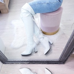 Kozaki Białe Eko-Skóra Ściągana Cholewka 8561