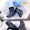 Botki Czarne Lakirowane Proste Śniegowce 9022