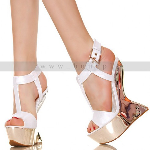 NIE - Fenomenalna Srebrna Platforma Białe Sandały