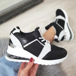 Trampki  Czarne Adidasy - Srebrne Wstawki 9089