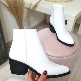 Botki Krótkie Białe Kowbojki 9104